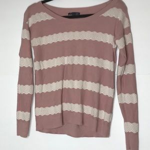 AMERICAN EAGLE Xs pink ivory lace sweater